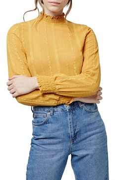 Topshop Smocked Trim Long Sleeve Top available at #Nordstrom