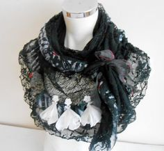 Black Shawl Black Triangle Shawl Black Ruffled by Nazcolleccolors