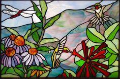 Spectrum stained glass studio purple coneflower in glass