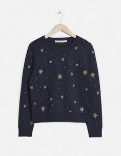 blue over the head sweater with stars