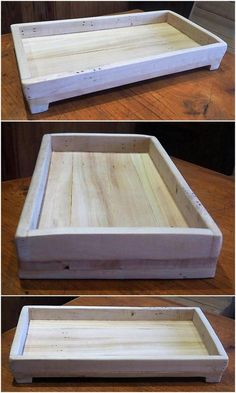 The wood pallet serving tray is a great and charming idea. This pallets wood serving tray can be easily used to serve your dogs and cats with food. This is a multi-purpose product as it is also effective to use as a kids toys keeping tray. #woodenpalletfurniture