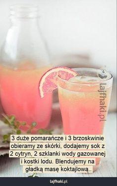 Orzeźwiający koktajl - 3 duże pomarańcze i 3 brzoskwinie obieramy ze skórki, dodajemy sok z 2 cytryn, 2 szklanki wody gazowanej i kostki lodu. Blendujemy na  gładką masę koktajlową..