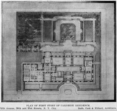Floor plan of the Carnegie Mansion on Fifth Avenue and 91st Street, New York City