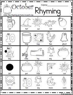 Halloween Rhyming Worksheet – Free literacy building page for Kindergarten and Preschool Use this worksheet as a rhyming assessment page or practice worksheet. Students will color the rhymin… Rhyming Worksheet, Pre K Worksheets, Rhyming Activities, Free Kindergarten Worksheets, Printable Preschool Worksheets, Fun Worksheets For Kids, Super Worksheets, Word Work Activities, Color Activities
