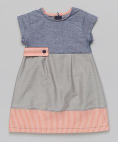 Blue & Gray Chambray Color Block A-Line Dress - Toddler & Girls | something special every day