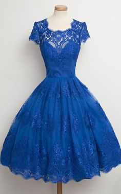 Royal Blue Ball Gown Short Sleeve Lace Scalloped Neckline Tea Length Appliques Lace Short Homecoming Dress