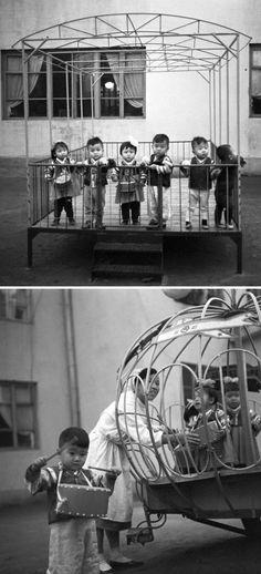 North Korea - Children in a playpen and kindergarten carousel, Pyongyang. Nov 1,1971. By Klaus Morgenstern, Gesperrt für Bildfunk ©ddrbildarchiv.de/dpa/Corbis
