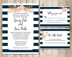 Navy Striped Nautical Wedding Printable Invite - Paper Goods, Gold Foil Wedding, Navy and Blush Floral Digital Printable Invitation Print  by SouthernSpruce