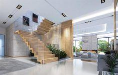 Rezydencja z widokiem - zdjęcie od extradom Modern Mansion Interior, Modern Apartment Design, Modern Home Interior Design, Dream Home Design, Luxury Homes Interior, Luxury Home Decor, Modern House Design, Stairs Architecture, Modern Architecture