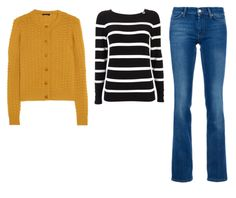 Bootcut jeans, striped top and yellow cardigan (and our Cobbler High Boot) Instant classic.
