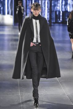 Saint Laurent Men's RTW Fall 2015 -Not everyone can pull off a cape, but for those who can, including ME, Yes, YES, YES! Three snaps in the air.