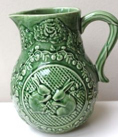 Bordallo Pinheiro Majolica Rainha Portugal Cabbage Leaf Pitcher Bunny Easter | eBay