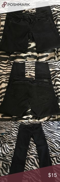 Black American Eagle pants Size 10 short/court American Eagle skinny jeans black American Eagle Outfitters Jeans Skinny