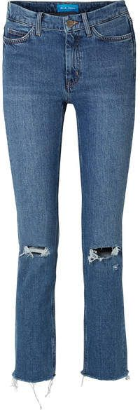 h Jeans - Daily frayed high-rise straight-leg jeans Stretch Jeans, Distressed Jeans, Skinny Jeans, Legs, Denim, Pants, Women, Style, Fashion