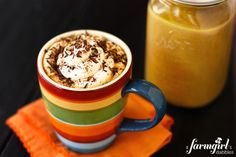 Pumpkin Spice Latte {homemade recipe for 1 week of drinks!} - from a farmgirl's dabbles - tried it & loved it! | Replaced 2 cups milk with 1 cup water (you can add milk with each cup) and 1 teaspoon of cinnamon instead of 1 tablespoon, grated nutmeg on top. Might use whole container of condensed milk next time for added sweetness.