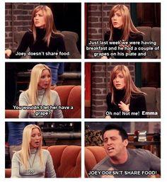 Joey doesn't share food!! Love friends!