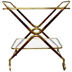 Italian Brass and Mahogany Bar Cart Trolly Attributed to Cesare Lacca   1stdibs.com