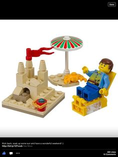 LEGO 40054 Summer Scene instructions displayed page by page to help you build this amazing LEGO Seasonal set Lego Store, Toy Store, Lego Design, Lego City, Lego Boot, Bateau Lego, Lego Beach, Instructions Lego, Lego Furniture