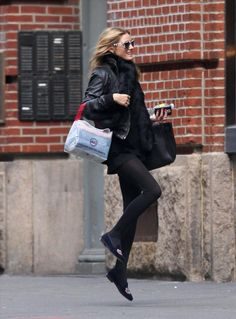 81e3e16a7501 Olivia Palermo wearing Hermes Birkin Bag in Black and Stubbs   Wootton  Jefferson Black Vel in Navy.