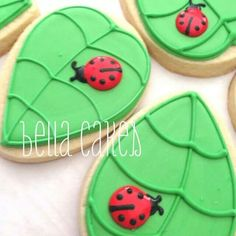 Lady bugs on a leaf using the egg cookie cutter.