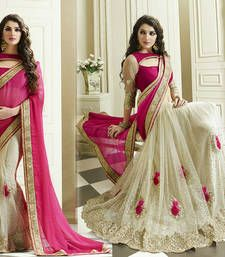 Buy Pink and Cream embroidered georgette saree with blouse georgette-saree online
