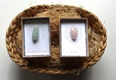 Set of 2--- INTENTION STONE with gift box --- Easter Basket ,Small Gift, favor, candy free Easter Basket