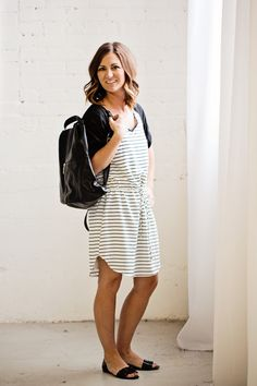 Kim Ray Spring dresses from Marshalls, Stripes and backpacks