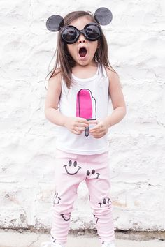 cutest little girl // popsicle tank, smiley face pants and round sunnies #kidstyle #minime #girlstyle