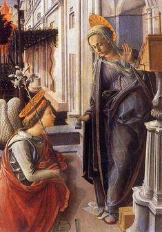 Annunciazione (particolare) (1445) tempera(?) su legno - Filippo Lippi - Chiesa di San Lorenzo, Firenze