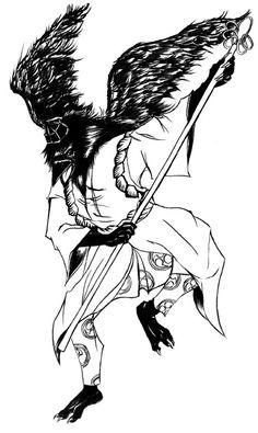 Tengu, bird demon of Japan. Cool stance