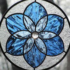 Blue Stained Glass Mandala Star Round Suncatcher by LivingGlassArt, $40.00
