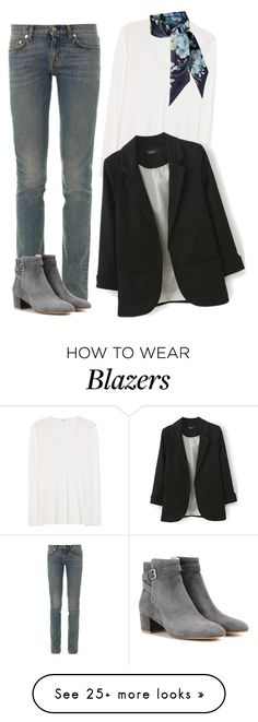 """""""Untitled #417"""" by bojana-687 on Polyvore featuring Yves Saint Laurent, Jil Sander, Gianvito Rossi, Gucci, white, black, Boots, jeans and shirt"""