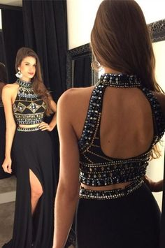 Halter Beading Real Made A-Line Charming Prom Dresses,Long