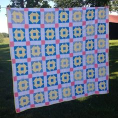 Vintage Churn Dash Quilt Hand Quilted Cotton by AStringorTwo, $78.00