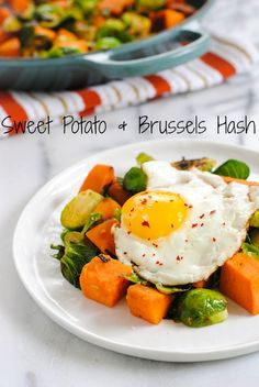Sweet Potato  Brussels Hash - Put an egg on it! | foxeslovelemons.com