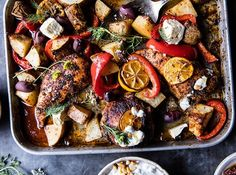 Best Easy Greek Sheet Pan Chicken Souvlaki and Potatoes 50 Non-Boring Baked Chicken Recipes to Try for Dinner via Cooking Recipes, Healthy Recipes, Pan Cooking, Fun Recipes, Recipies, Healthy Foods, Cooking Sheet, Healthy Dishes, Copycat Recipes