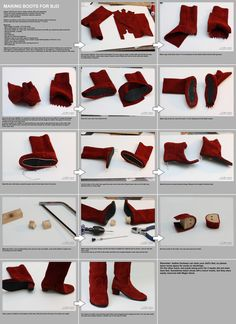 Risultati immagini per how to make barbie doll shoesBarbie Dolls : Making boots for BJD tutorial by scargeear on deviantARTVery excellent tutorial about making boots for a doll, not American Girl Doll…Making boots for dolls tutorial --will have to check Sewing Dolls, Ag Dolls, Girl Dolls, Barbie Dolls, American Girl Outfits, Barbie Shoes, Doll Shoes, Doll Shoe Patterns, Clothing Patterns