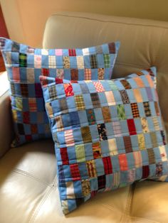 Patchwork Cushion, Quilted Pillow, Scrappy Quilts, Mini Quilts, Cowboy Quilt, Quilted Potholders, Memory Pillows, Doll Quilt, Christmas Pillow
