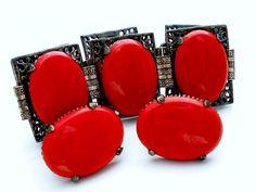 Statement Red Rhinestone Bracelet Earrings Demi Set Glass Cabochons