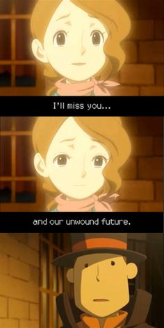 I'll miss you... and our unwound future //Professor Layton, Claire, Last words, Last scene, Unwound Future, Lost Future, Screenshot, Aesthetics, VanillaFolsense