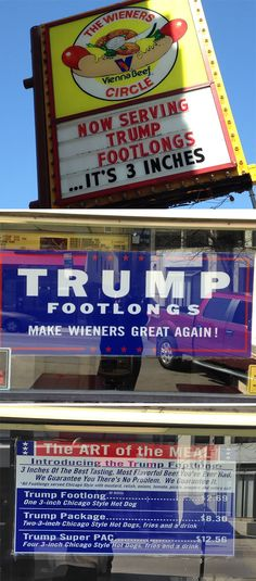 Hot Dog Shop Offers Trump Footlongs That Are Only 3 Inches Long Shopping Humor, John Trump, Dog Shop, Time Shop, Hot Dogs, Party Invitations, Cute Pictures, How Are You Feeling, Creative