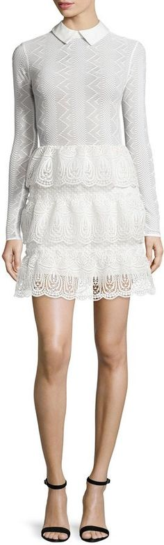 Pin for Later: 150+ Fashion Gifts to Add to Your Holiday Wish List Now  Self-Portrait Long-Sleeve Tiered Scalloped Lace Dress ($520)