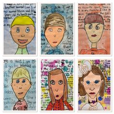 Georgia Folk Artist, Howard Finster, self portraits by Third Grade-http://2soulsisters.blogspot.com/2016/02/howard-finster-kinda-fun-with-self.html