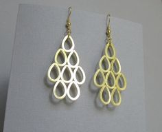 Quilling Earrings, Gold on Ivory Teardrop