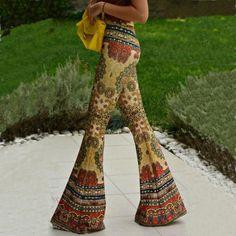 Skinny Flower Print Fashion Bell-bottom Retro Pants
