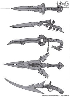 Artist: Hokoodo Sword, Dagger, Gun, Firearm, Wing, Blade, symmetrical, asymmetrical