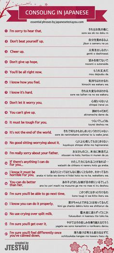 Infographic: how to console someone in Japanese…