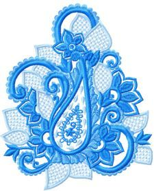 Blue Flower Lace machine embroidery design. Machine embroidery design. www.embroideres.com
