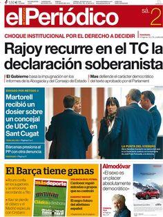 Los Titulares y Portadas de Noticias Destacadas Españolas del 2 de Marzo de 2013 del Diario El Periodico de Catalunya ¿Que le parecio esta Portada de este Diario Español?