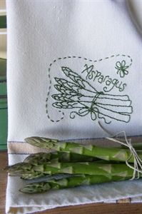 fruit & veggie towels~free asparagus pattern Other free veggies and fruit patterns available